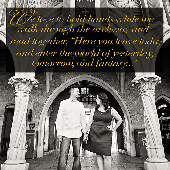 Love quote and couple standing on archway.
