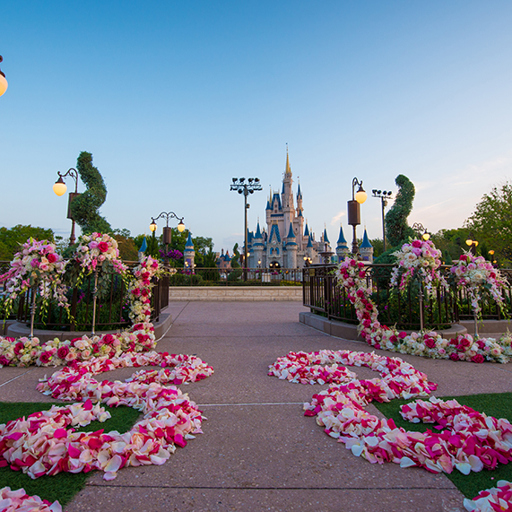 Magic Kingdom East Plaza Garden with view of Cinderella Castle in the background and pink and white aisle decor.