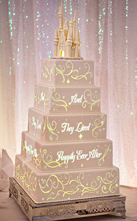 Disney Image Projections Wedding Cake