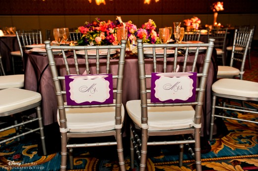 Reception Seating for Bride and Groom, Mr. & Mrs. chair signs