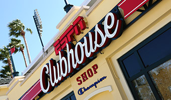 The storefront sign at the ESPN Clubhouse Shop