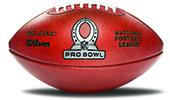 A football with a logo in its center that reads 'Pro Bowl'