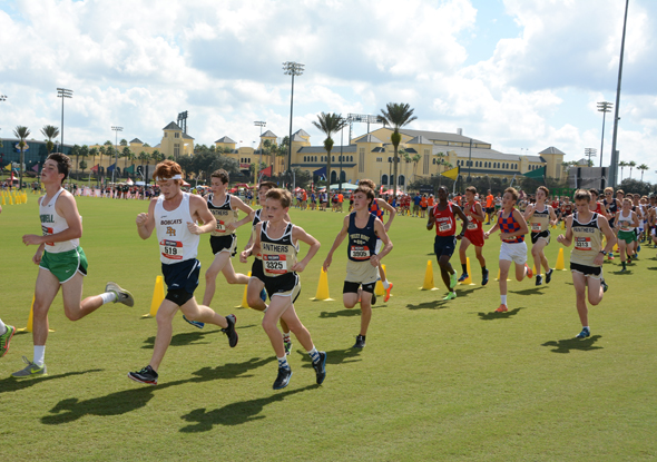 Cross Country runners running in the Disney Cross County Classic