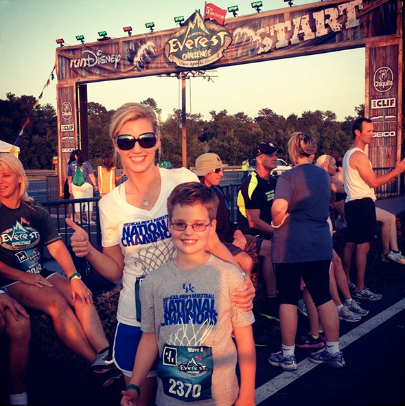 Mother and son at runDisney race starting line