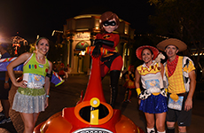 """Toy Story"" runners pose with Mrs. Incredible during Disneyland Half Marathon Weekend at Disneyland Resort."