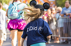 Young runner participates in the runDisney Kids Races during Disneyland Half Marathon Weekend at Disneyland Resort.