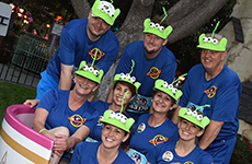 "Runners dressed as Pixar's ""Toy Story"" aliens participate in Disneyland Half Marathon Weekend."