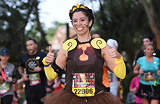Runner dressed as Cogsworth during the Disney Wine & Dine Half Marathon