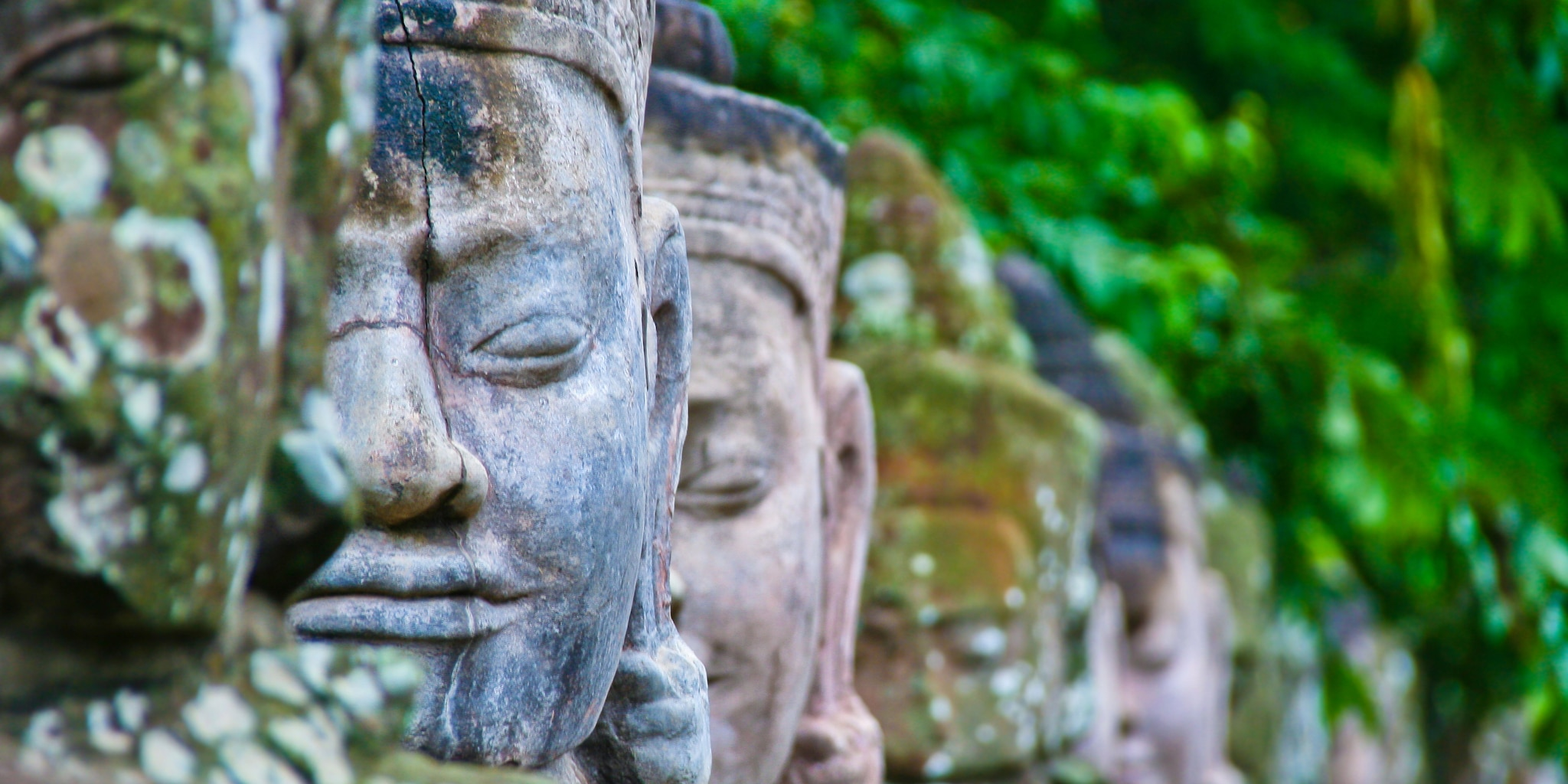 The statues of Angkor Wat in Vietnam