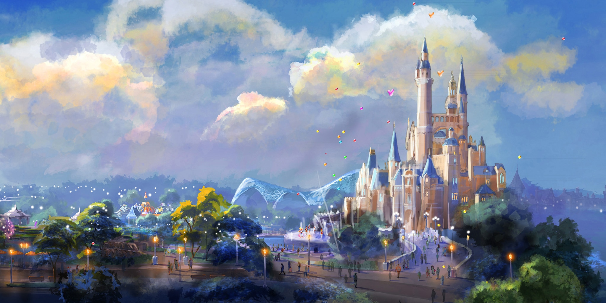 An illustration of Enchanted Storybook Castle at Shanghai Disneyland