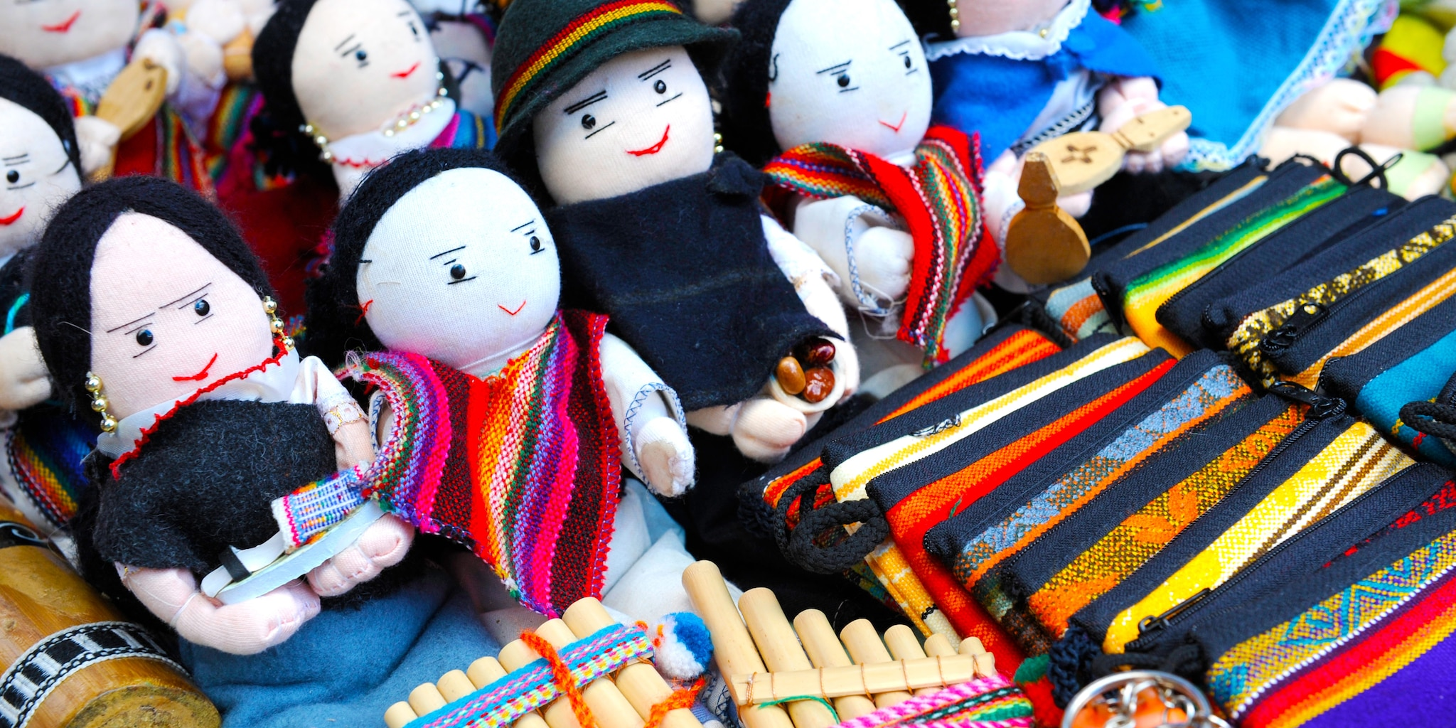 Traditional Ecuadorian dolls , crafts and woven items
