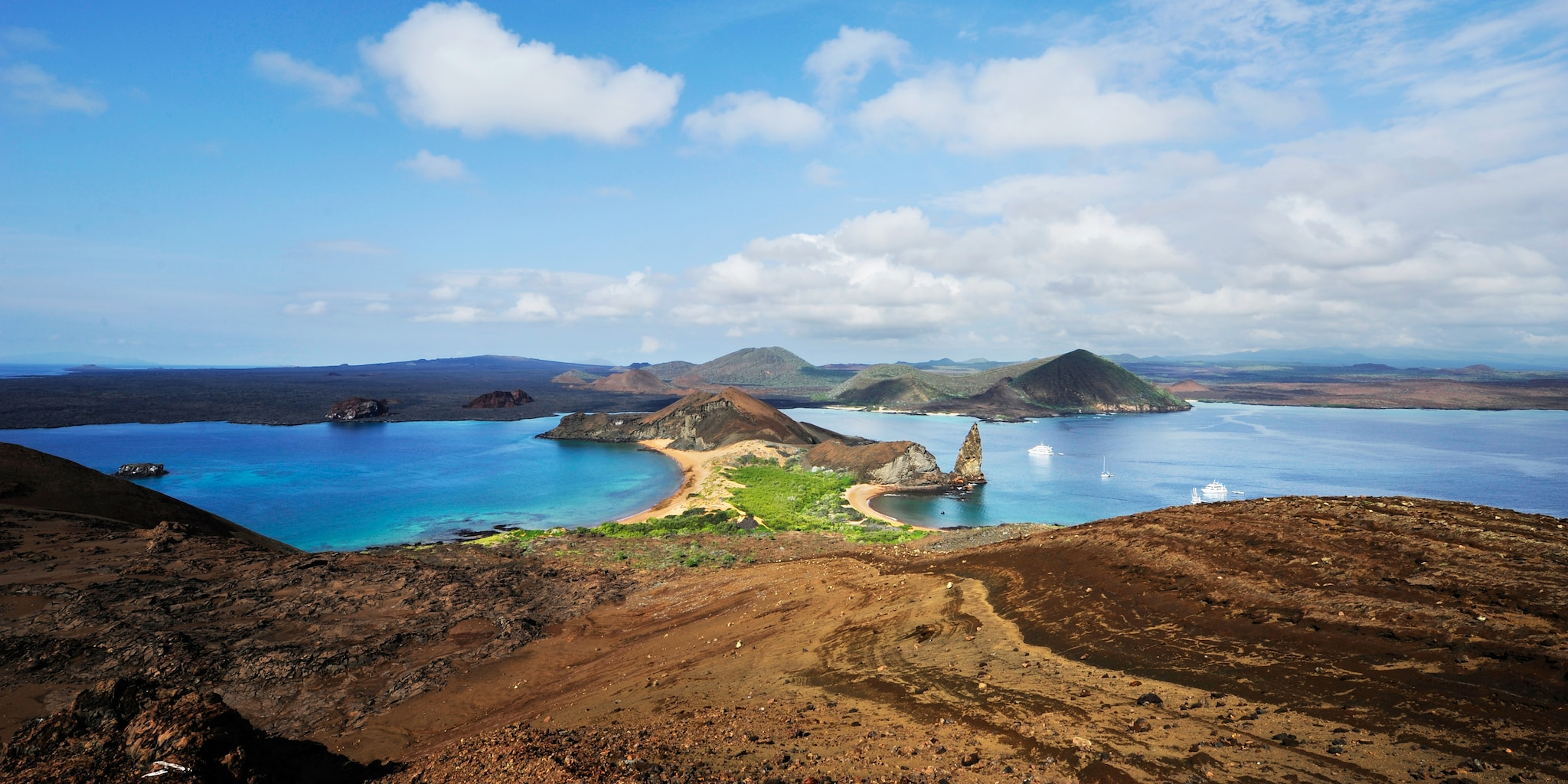 The hilly shores of Bartolome Island