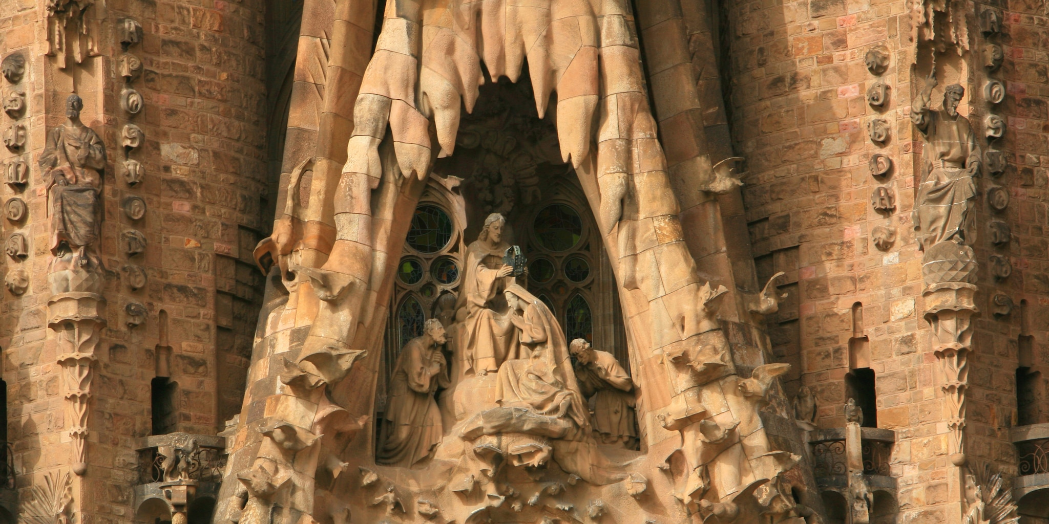 The intricately sculpted Nativity facade of La Sagrada Familia Cathedral in Barcelona