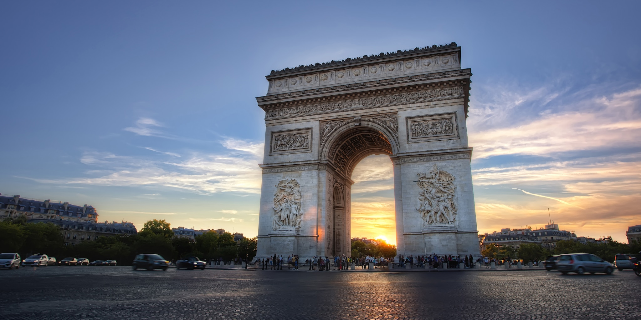 The Arc de Triomphe at sunset