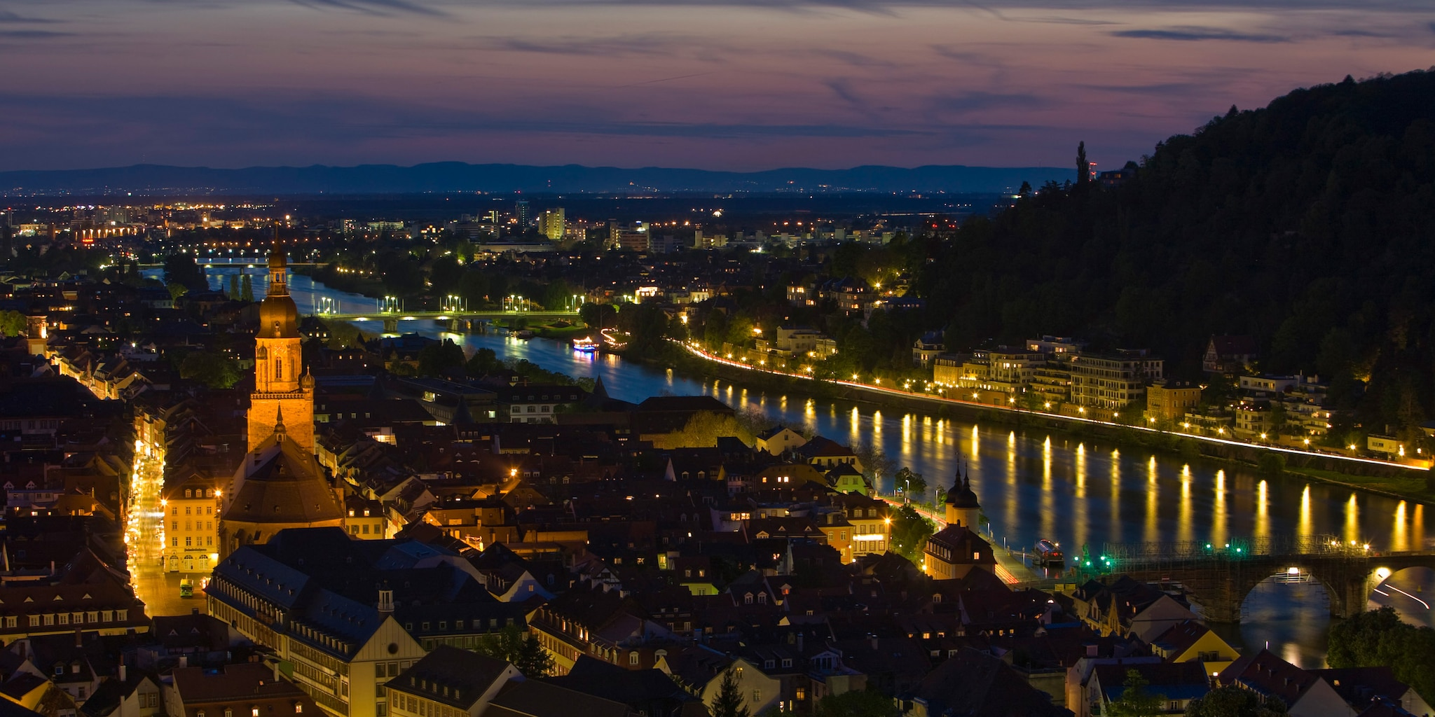 Heidelberg at night is one stop on the Germany tour