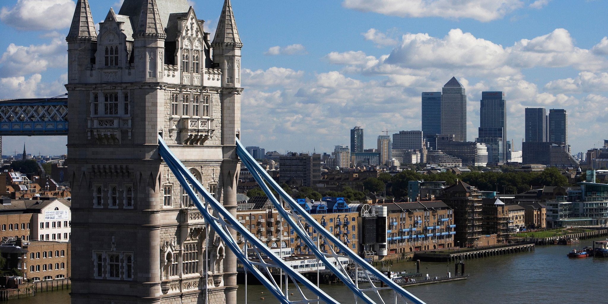 The top of the Tower Bridge overlooking London and the River Thames