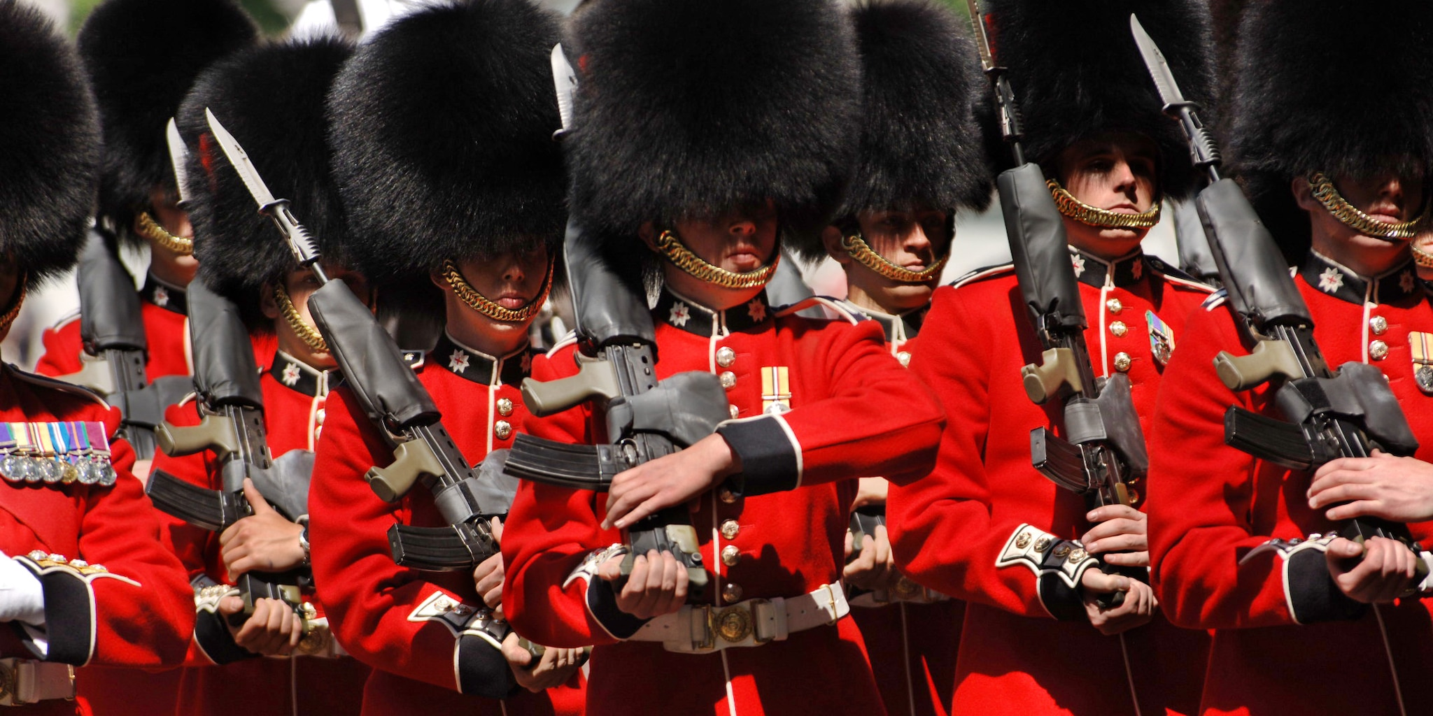 London's Beefeater guards during a drill