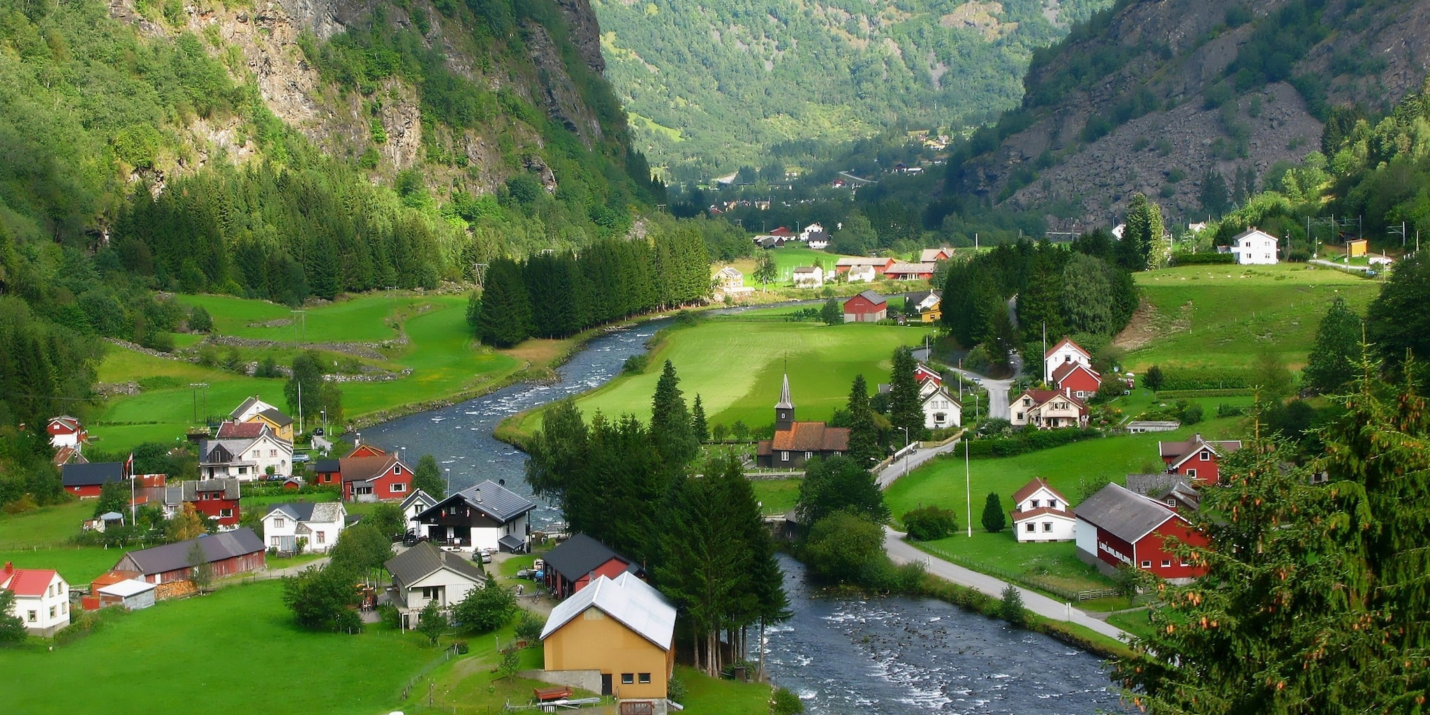 A fjord runs right through the center of the small, picturesque town of Flam
