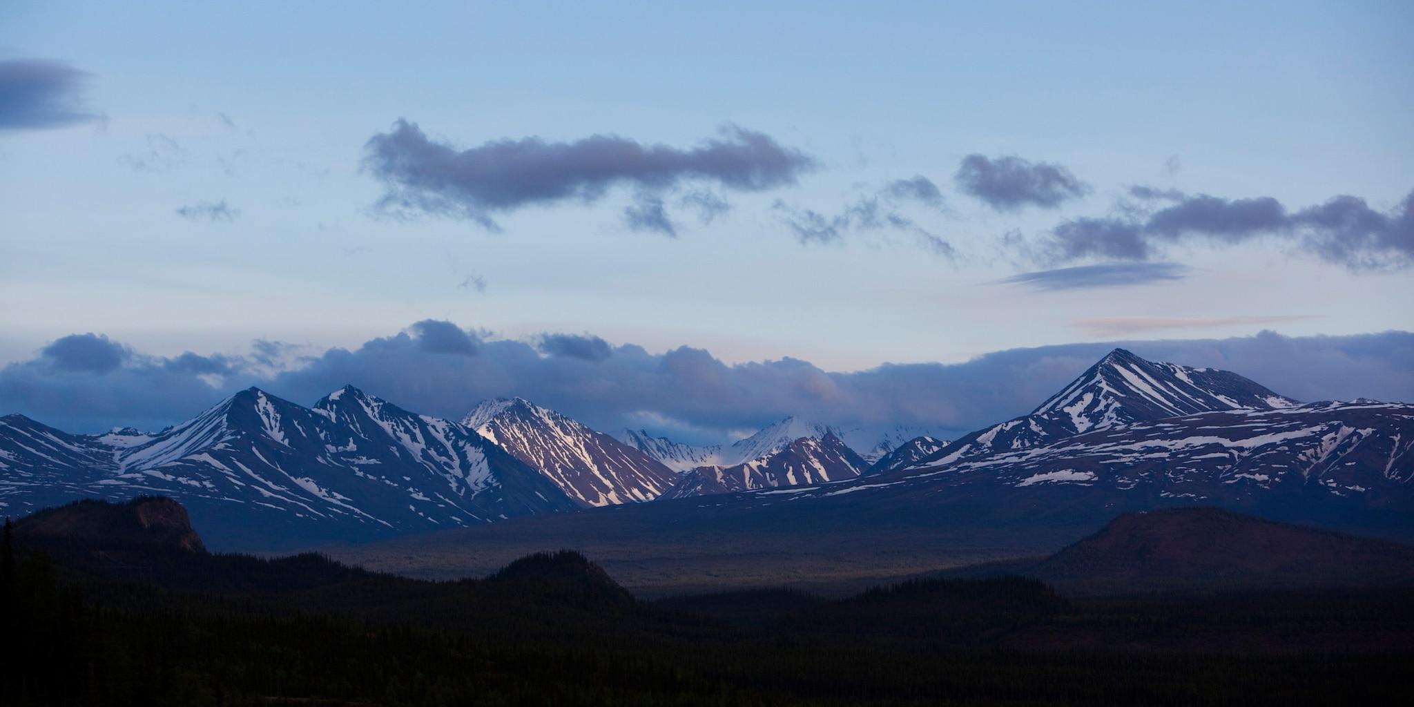 Alaska's scenic mountain range at sunset