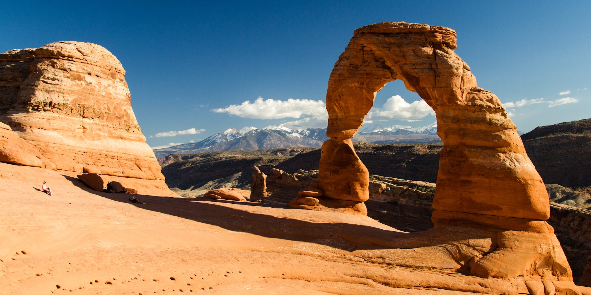 An ancient sandstone arch in Arches National Park