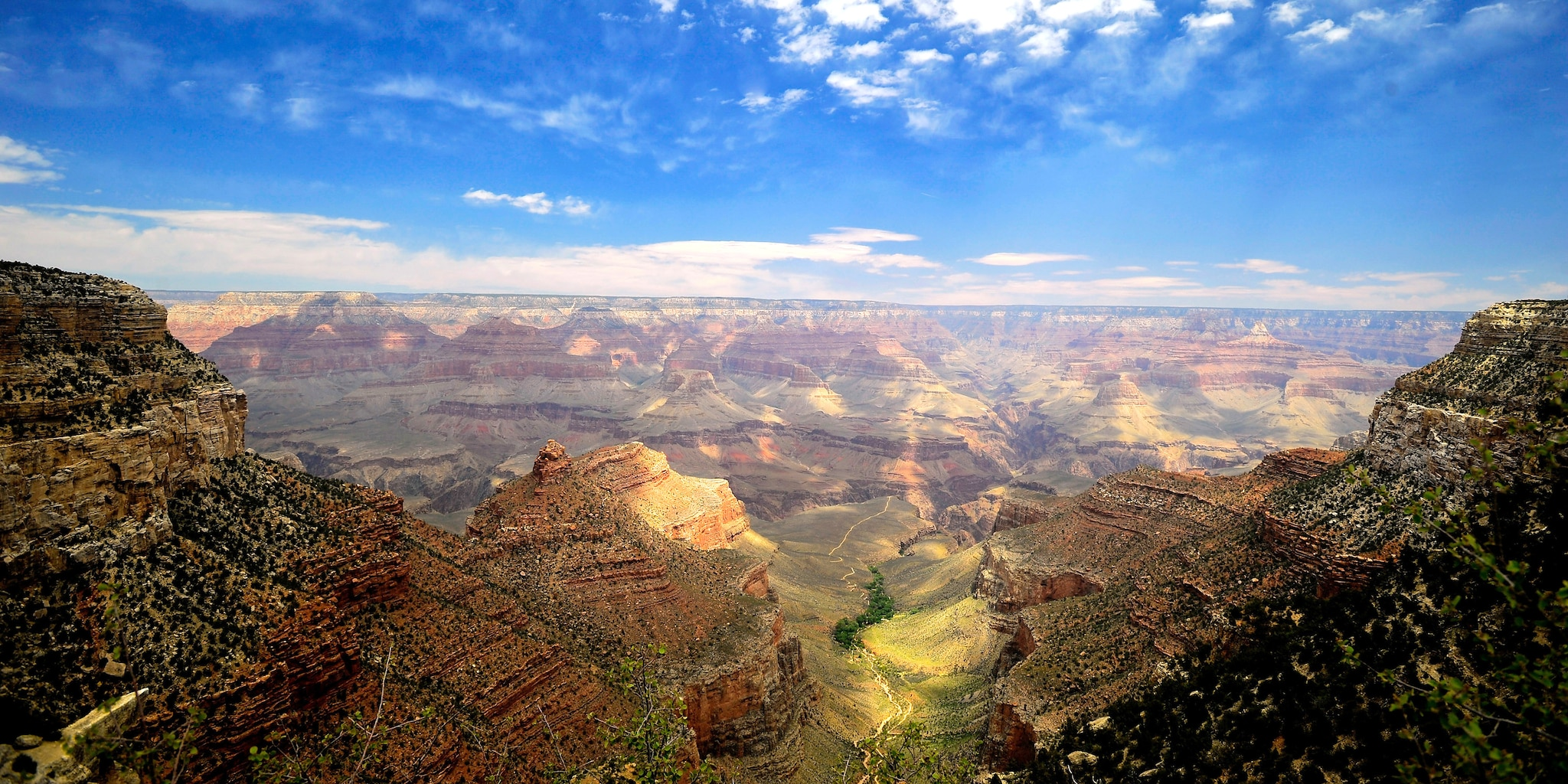 Ancient layers of rock form the walls of the Grand Canyon's South Rim