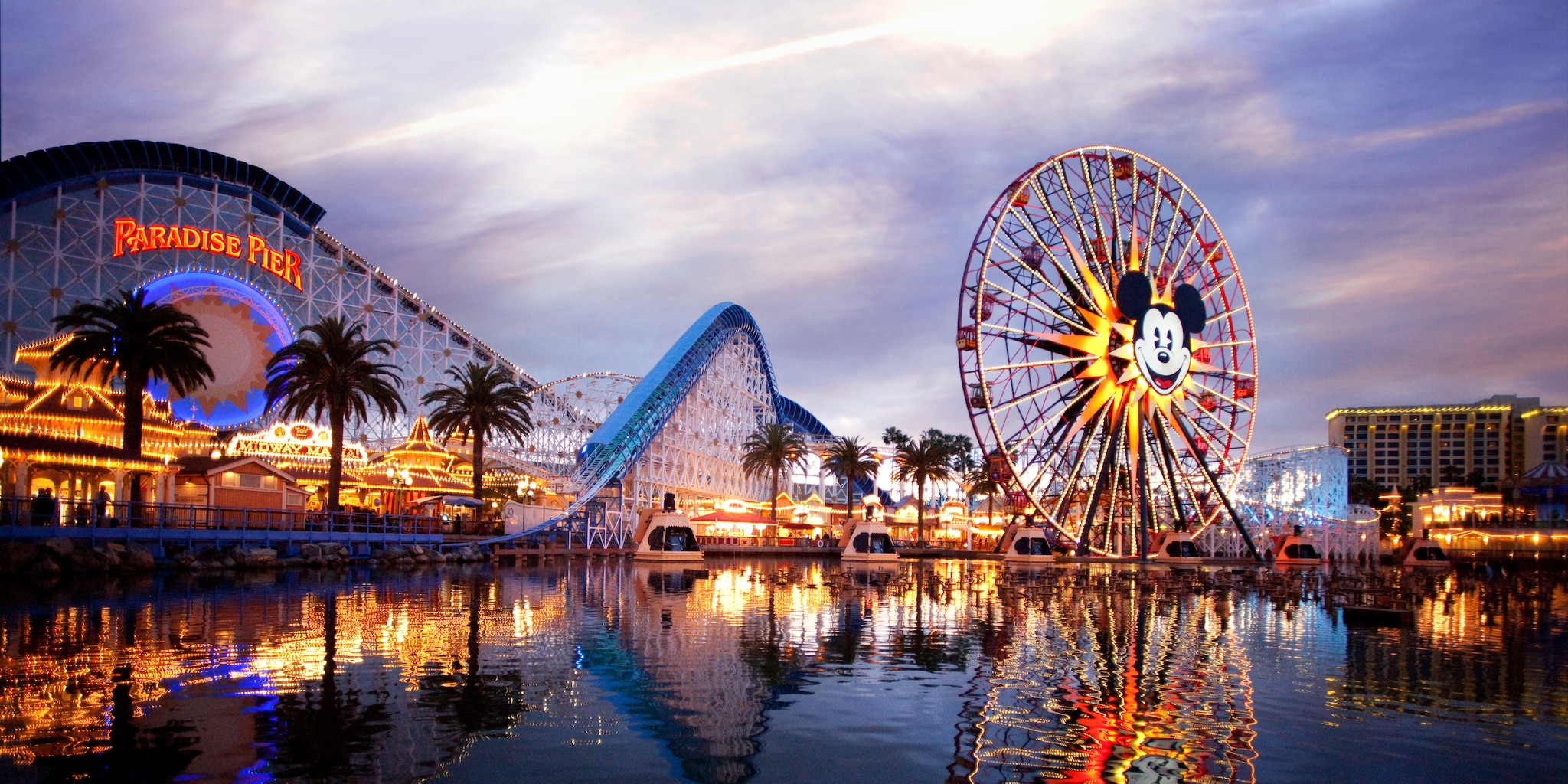 Twilight at Paradise Pier at Disney California Adventure Park