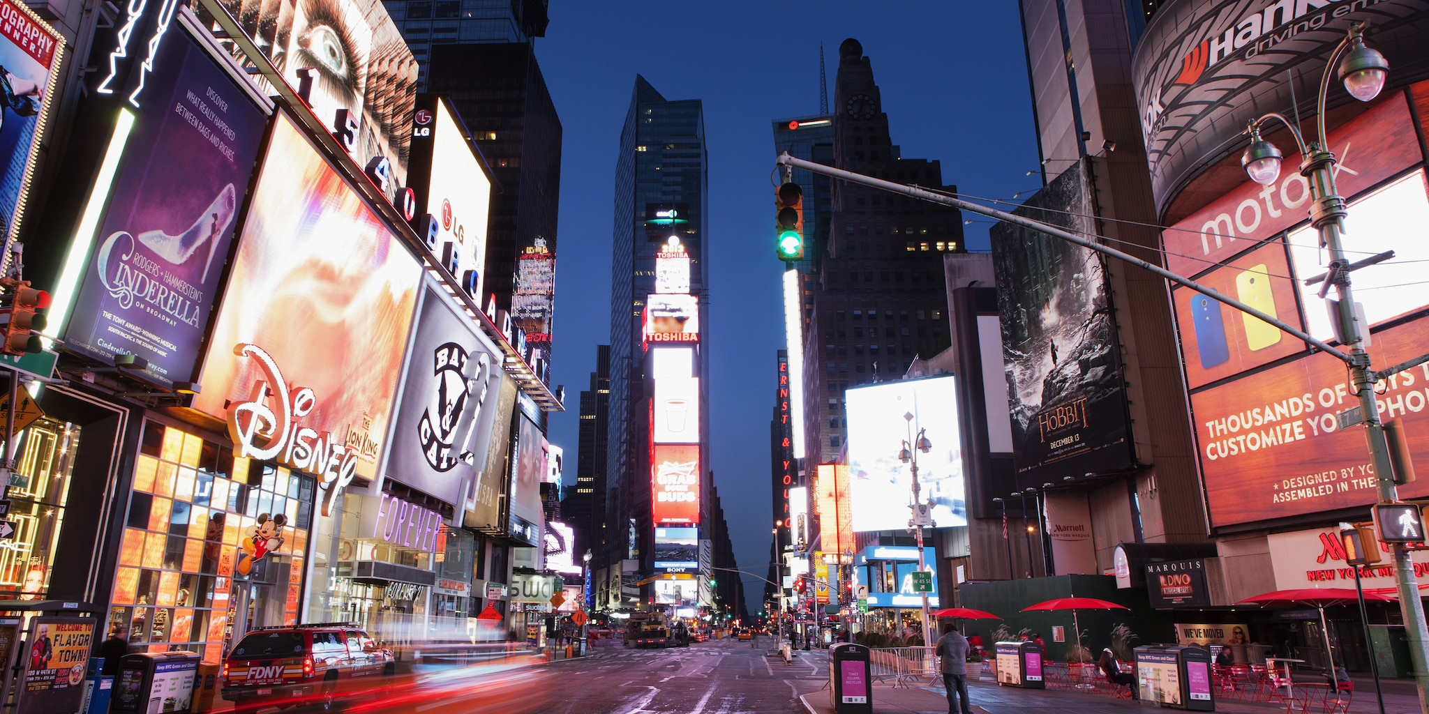 The brightly lit buildings of Times Square at night