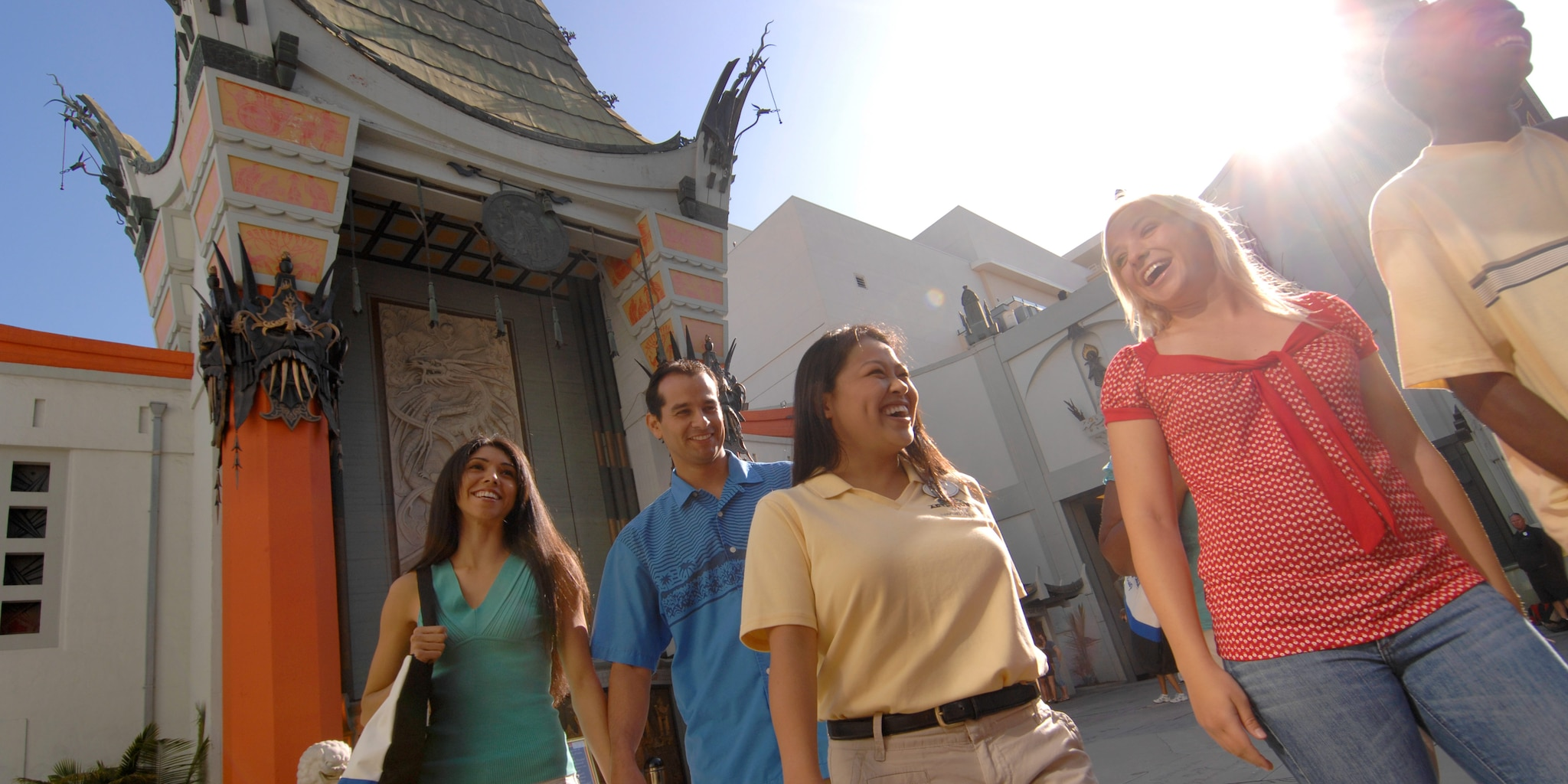 A group leaves the Chinese Theater in Hollywood