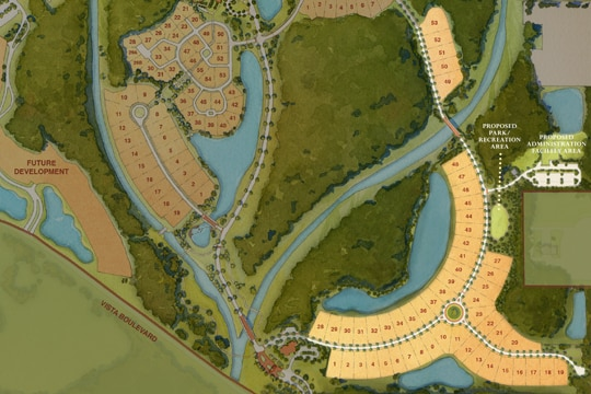 A map of Golden Oak, with the Kingswell neighborhood homesites prominently highlighted
